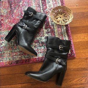 Coach Alexandra black heeled pebble leather boots